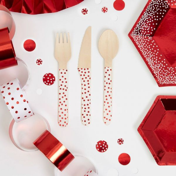 Merry Christmas Red & White Wooden Cutlery (24)